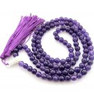 8mm 108 Purple Jade Beads Tibet Buddhist Prayer Mala Necklace  ZZ182