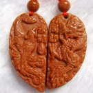 Pair Of Goldstone Gem Dragon Phoenix Love Heart Amulet Pendant 35mm*35mm  T0053