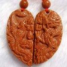 Pair Of Goldstone Gem Dragon Phoenix Love Heart Amulet Pendant 35mm*35mm  T0053