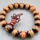 12mm Tibet Buddhist Rosewood Callgraphy Word Beads Prayer Mala Bracelet  T2417