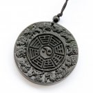 Black Green Jade 12 Zodiac Animals Tai-Ji 8-Diagram Amulet Pendant 50mm*50mm  TH157