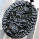 Black Green Jade Mythical Celestial Dragon Coins Amulet Pendant 52mm*43mm  TH105