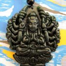 Black Green Jade Tibet Buddhist Thousand-Hand Kwan-Yin Amulet Pendant 42mm*35mm  TH003