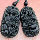 Black Green Jade Dragon Phoenix Love Pair Amulet Pendant 35mm*18mm  TH007