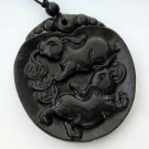 Black Green Jade Two Fortune Rabbits Amulet Pendant 45mm*45mm  TH017
