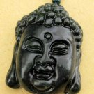 Black Green Jade Tibet Buddhist Sakyamuni Buddha Head Amulet Pendant 29mm*23mm  TH024