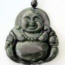 Black Green Jade Tibet Buddhist Happy Buddha Amulet Pendant 41mm*36mm  TH025