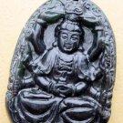 Black Green Jade Tibet Buddhist Multiple-Hand Kwan-Yin Amulet Pendant 53mm*37mm  TH028