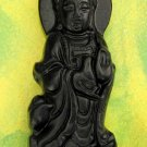 Black Green Jade Tibet Buddhist Mercy Kwan-Yin Amulet Pendant 55mm*20mm  TH031