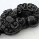 Black Green Jade Fortune Pi-Xiu Dragon Amulet Pendant 36mm*18mm  TH041