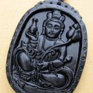 Black Green Jade Tibet Mercy Kwan-Yin Pu-Sa Amulet Pendant 55mm*40mm  TH044