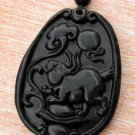Black Green Jade Zodiac Rabbit Yuanbao Amulet Pendant 41mm*30mm  TH048