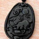 Black Green Jade Zodiac Rabbit Yuanbao Amulet Pendant 41mm*30mm  TH048