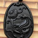 Black Green Jade Zodiac Snake Boa Amulet Pendant 41mm*31mm  TH052