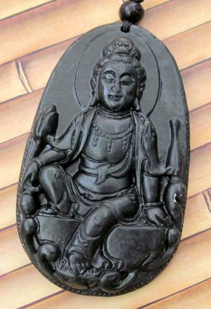 Black Green Jade Tibet Mercy Kwan-Yin God Pu-Sa Amulet Pendant 57mm*34mm  TH053