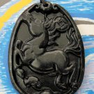 Black Green Jade Zodiac Horse Amulet Pendant 42mm*31mm  TH055