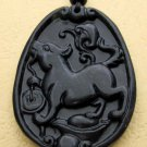 Black Green Jade Zodiac Dog Yuanbao Amulet Pendant 43mm*32mm  TH056