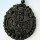 Black Green Jade Dragon Fortune Pi-xiu Amulet Pendant 50mm*45mm  TH060