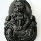 Black Green Jade Buddhist Kwan-Yin Guanyin Pu-Sa Amulet Pendant 49mm*32mm  TH062