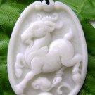 White Jade Zodiac Sheep Goat Amulet Pendant 40mm*30mm  TH205