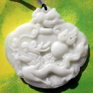 White Jade Celestial Dragon Fireball Amulet Pendant 50mm*50mm  TH208