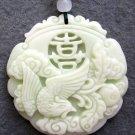 White Jade Lukcy Phoenix XI Amulet Pendant 45mm*45mm  TH222