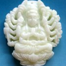 White Jade Tibet Buddhist Thousand-Hand Mercy Kwan-Yin Amulet Pendant 40mm*35mm  TH236