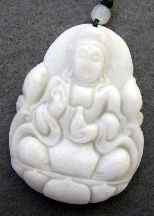 White Jade Tibet Buddhist Kwan-Yin Pu-Sa Amulet Pendant 45mm*35mm  TH237