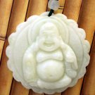 White Jade Tibet Buddhist Happy Buddha Amulet Pendant 40mm*40mm  TH244