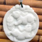White Jade Two Fortune Rabbit Pendant 48mm*44mm  TH252