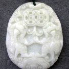 White Jade Two Fortune Pi-Xiu Dragon Amulet Pendant 45mm*38mm  TH255