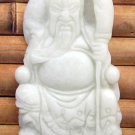 White Jade Han Dynasty Seated Guan-Gong Guanyu Amulet Pendant 47mm*28mm  TH277