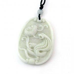 White Jade Zodiac Snake Boa Amulet Pendant 42mm*33mm  TH283