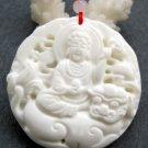 Tridacna Shell Tibet Buddhist Kwan-Yin Dragon-Lion Amulet Pendant 46mm*46mm  T2427