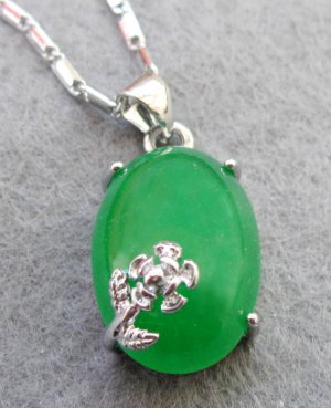 Malay Jade Oval Alloy Metal Flower Pendant Necklace 18mm*13mm  T2433