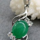 Acrylic Diamond Malay Jade Alloy Metal Pendant Necklace 28mm*14mm  T2434