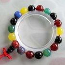 10mm Multi-Color Agate Gem Beads Buddhist Prayer Mala Bracelet  T2439