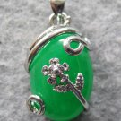 Malay Jade Alloy Metal Oval Pendant Necklace 22mm*13mm*6mm  T2446