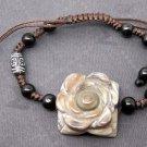 Tibet Eye Agate Gem Flower Leaf Bead Beads Bracelet 23mm*23mm  T2469