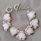 Natural Sea Shell Alloy Metal Heart Beads Bracelet  T2487