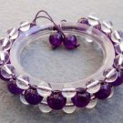Purple Jade And Crystal Quartz Beads Bracelet  T2506