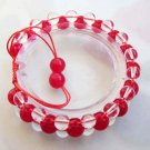 Red Jade And Crystal Quartz Beads Bracelet  T2507