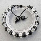 Black Jade And Crystal Quartz Beads Bracelet  T2511