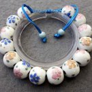 12mm Vintage Style Porcelain Flower Beads Bracelet  T2516