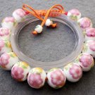 12mm Vintage Style Porcelain Flower Beads Bracelet  T2517
