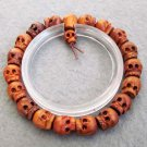10mm Jujube Wood Carved Skull Beads Bracelet  T2520