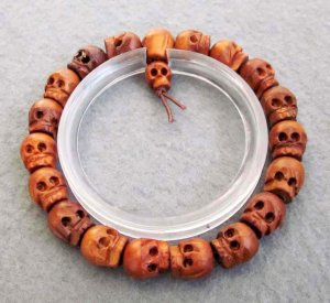10mm Jujube Wood Carved Skull Beads Bracelet  T2520