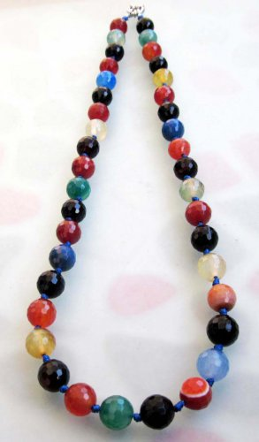 Multi-Color Faceted Agate Gem Knot Beads Necklace  T2522