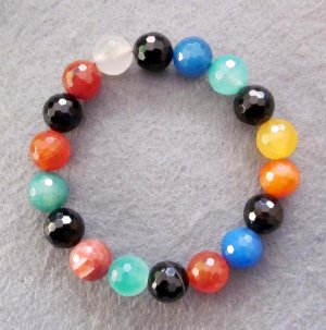 10mm Multi-Color Faceted Agate Gem Beads Bracelet  T2527