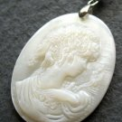 Natural Sea Shell Cameo Beauty Pendant Necklace 40mm*30mm  T2539